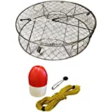 """KUFA Stainless Steel Crab Trap With Zinc Anode, 1/4"""" X 100' Poly Rope With Clip On Line Weight(10oz) And 5""""x11"""" Red/White Float Combo (CT100+FWP100+ZIN1)"""