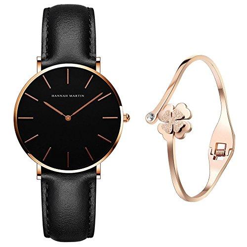 XLORDX Classic Damen-Armbanduhr Analog Quarz Schwarz Leder Armband, Schwarz Zifferblatt mit Elegant Rosegold Armband