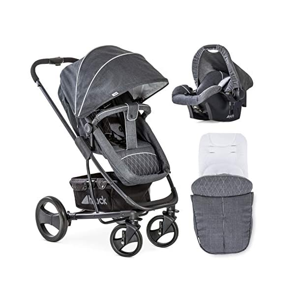Hauck Pacific 4 Shop N Drive, Lightweight Pushchair Set with Group 0 Car Seat, Carrycot Convertible to Reversible Seat, Footmuff, Large Wheels, From Birth to 25 kg, Melange Charcoal Hauck  1