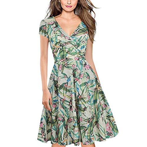 Kleider Sommer,Kleid Damen Elegant Frauen Floral Casual Dress V-Ausschnitt Arbeit Elastic Swing Sommerkleid Partykleid Von Evansamp(Grün,L) -