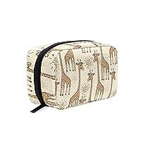 TIZORAX Cartoon Giraffe Handy Cosmetic Pouch Clutch Makeup Bag Organizer Travel Bag