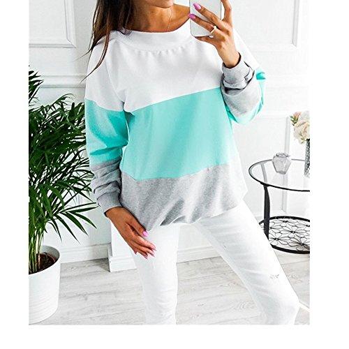AHOOME Pullover Tops Langarmshirt Bannfarbe Damen Pulli Rückenfrei Sexy Langarm Herbst Casual Party T-shrit Sweatshirts Blau