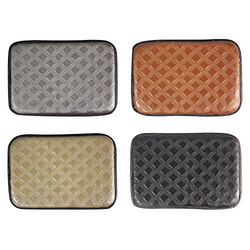 GAMPRO Luxus-PU-weiches Leder-Auto-Mittelkonsole-Kissen (30 × 20 × 2cm) Fahrzeug-Sitz-Kissen-Armlehne-Kissenauflage für Auto-Bewegungsauto-Fahrzeug, hebt Ihre Mittelkonsole an. (Brown)