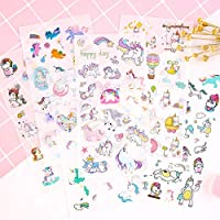 XCVBN Fashion Cartoon Unicorn Stickers For Girls Boys Children Notebook Stickers Decoration Toy Gifts For Kids 6 Sheets