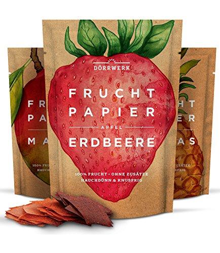 Getrocknete Früchte als 3er Set Fruchtpapier (3x 40g) - Frucht Snack aus Ananas, Apfel, Mango, Erdbeere luftgetrocknet - Trockenobst Dörrobst Superfood für Büro, Snack, Frühstück Chips Set