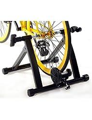 Ohuhu® Rodillo de entrenamiento de bicicleta en interiores; elemento de soporte plegable para entrenamiento con la bicicleta en casa; de acero con imanes.
