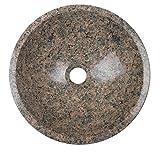 Waschbecken Waschschale Material 100% Granit, Aufstazwaschbecken Handwaschbecken Naturstein, rund, Durchmesser 34cm