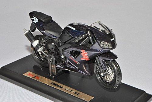 Preisvergleich Produktbild Yamaha YZF-R1 Blau Schwarz Mit Sockel 1/18 Maisto Modell Motorrad mit individiuellem Wunschkennzeichen