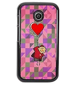 PRINTVISA Heart Ballon Premium Metallic Insert Back Case Cover for Motorola Moto E - D5677