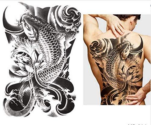 UPUPUPUP 48X35 cm Große Tattoo Aufkleber 2019 Fisch Wolf Buddha wasserdichte Temporäre Flash Tattoos Volle Rücken Brust Körper Für Männer