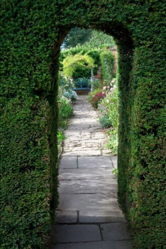 a-flagstone-path-through-a-yew-arch-into-an-english-garden-journal-150-page-lined-notebook-diary