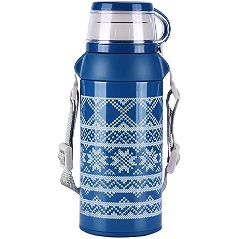 UPSTYLE Thermos tazza da viaggio Knitting Pattern Design Acciaio Inox, isolamento a vuoto thermos bottiglia d' acqua–Thermos da dimensioni 20oz (580ml), Acciaio inossidabile, Blue, 580ml - Design Patterns Knitting