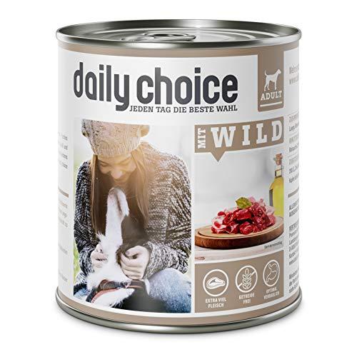 daily choice | Mit Wild | 24 x 800 g | Nassfutter für Hunde | Viel Fleisch | Getreidefrei | Optimal verdaulich Tierversuche, Zucker, Farb- & Konservierungsstoffe