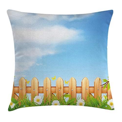 OQUYCZ Farm House Decor Throw Pillow Cushion Cover by, Vivid Summer Meadow with Butterflies Ladybugs Chamomiles Botanic Countryside, Decorative Square Accent Pillow Case, 18 X 18 Inches, Multi Butterfly Meadow Box