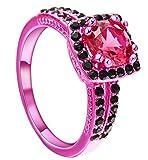 Femme Bandes De Mariage, Coupe Ronde Noir Et Rouge Zircon Cubique Cristale Engagement Bande Mariée Bague Taille 54