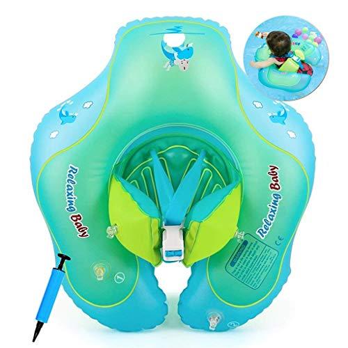 Cosoro Flotador de Natación para bebé con Asiento yanillo de Seguridad,Juguetes para Natación Recién Nacidos,Flotador de Espera Ajustable para bebé(3-12 Meses Niños (S))