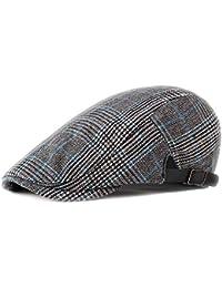 Doitsa Hombre Sombrero de Boina Rayure Enrejado Sombrero de Pintor  Ajustable Gorra Plate Tradicional para otoño 38fe60a494c