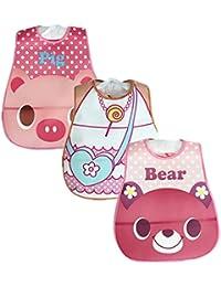 YOUJIA Bebés Niños Niñas Paquete de 3 Baberos impermeables con Velcro y Impresión de animales