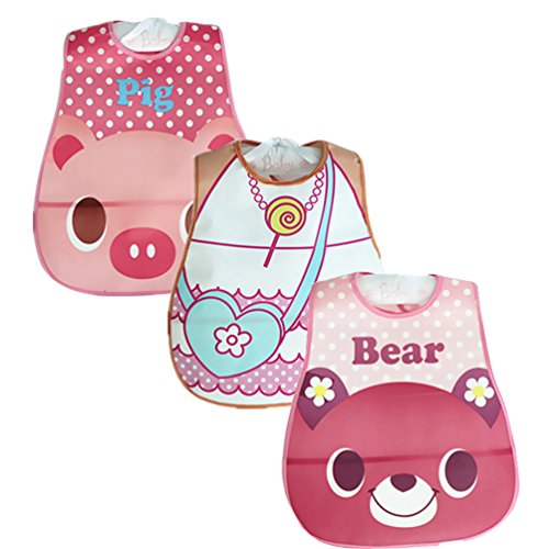 YOUJIA Bebés Niños Niñas Paquete de 3 Baberos impermeables con Velcro y Impresión de animales Rosa 0-12M(45*28cm)