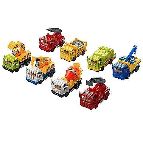 Véhicules de Construction InnooBaby 8 pieces Voiture Miniature Jouets Automatique Camions à Friction Chantier Tirer Vers L