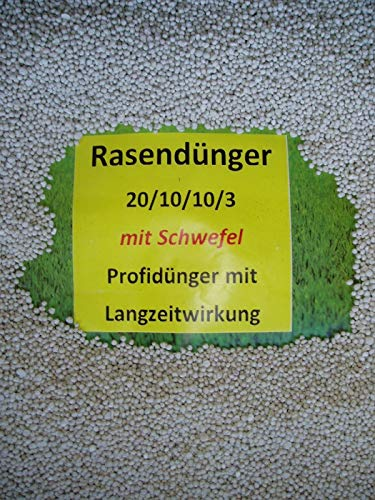 Agramed 10 kg Rasendünger Dünger Volldünger 20/10/10/3 mit 3% Schwefel Profidünger -