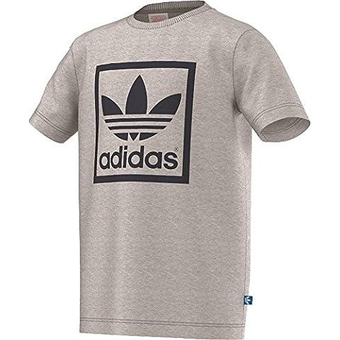 Adidas–Maglietta da ragazzo Trefoil, Ragazzo, Trefoil T-Shirt - grau, Mgreyh/Conavy, 158