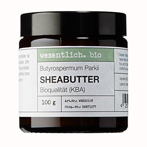 Sheabutter BIO 100g von wesentlich. - natürlich im Glastiegel - 100% reines Naturprodukt - Wesentlich Natürlicher