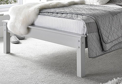 Happy Beds Grace Low Foot End Bed Grey Wooden Frame Only 4' Small Double 120 x 190 cm