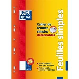 Oxford 100107290 Lot de 5  Cahier de mobiles détachables et perforées Format 21x29,7 cm 100 feuillets Grands carreaux Seyès