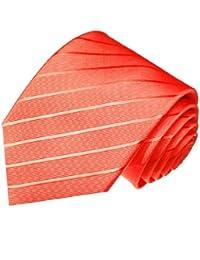 LORENZO cANA cravate design luxe 100%  soie-couleur :  rose saumon 84296–corail
