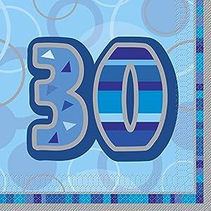 Unique Party- Paquete de 16 servilletas de papel de 30 cumpleaños, Color azul, Edad (28460)