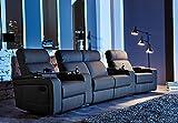 Kinosofa Cinema Sessel Hollywood 4-Sitzer Kinosessel schwarz mit Getränkehalter
