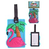 Puckator Pink Flamingo PVC Luggage Suitcase Tag Bag Identifier by Subitodisponibile, Mixed, Total Length 17cm Height 10.5cm Width 7.5cm Depth 0.5c