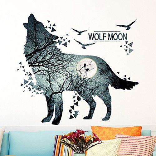 Wolf Mond Wald Wandaufkleber PVC Material Tier Wandkunst für Wohnzimmer Schlafsaal Schlafzimmer Dekoration