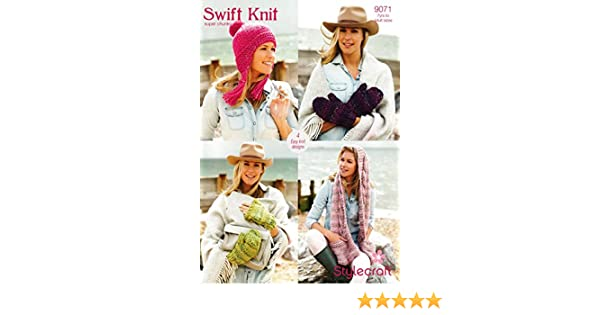c2e42b1be Stylecraft 9071 Knitting Pattern Ladies Scarf Mittens and Hat in Swift Knit  Super Chunky  Amazon.co.uk  Kitchen   Home