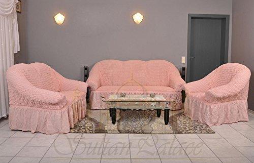Stretch Sesselschoner, Sesselbezug, Sesselhusse aus Baumwolle & Polyester in rosa. Sofaueberwurf / Sofabezug / Sofahusse / Elastisch Husse