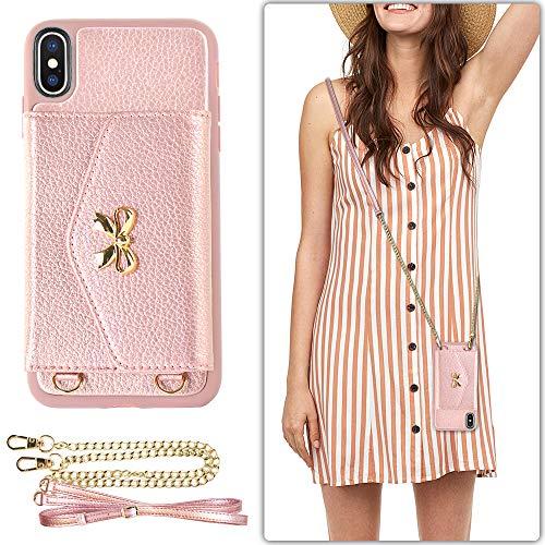 iPhone XS Wallet Case für Frauen, iPhone X Kartenhalter mit Crossbody Strap Lameeku Leder Geldbörse Hülle Stoßfest Magnet TPU Bumper Cover für Apple iPhone X/Xs, 5,8 Zoll, Rose Gold