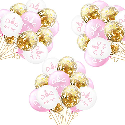 Einhorn Konfetti Luftballon,15 Stück Rose Gold Konfetti Ballon Party Dekoration für Kinder...
