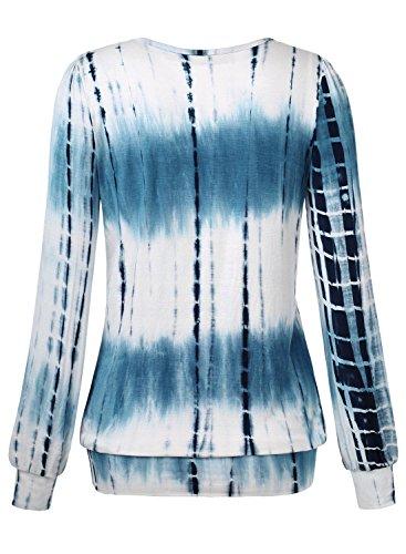 DJT Damen Langarmshirt Rundhals Falten T-Shirt Stretch Tunika Top Blau-2
