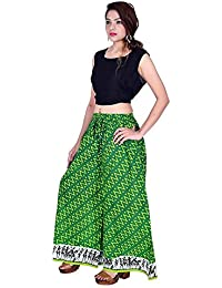 Kriti Women's Green Lehriya Printed Designer Stylish High-Waist Flared Cotton Palazzo Pant's-Free Size