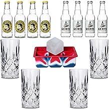 Tonic Wasser / Tonic Water Set - Inkl. 4x Gin Gläser aus Kristall und 1x Eiswürfelform XXL - Thomas Henry & Gents Tonic Wasser - Ideales Set für Deinen Gin & Tonic Abend!