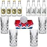 Premium Tonic Wasser Set   Inkl. 4x Gin-Gläser aus Kristall   1x XXL-Eiswürfelform   4x Thomas Henry   4x Gents Tonic Water