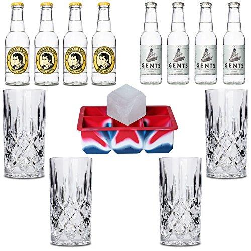 Premium Tonic Wasser Set inkl. 4x Gin-Gläser aus Kristall/1x XXL-Eiswürfelform/4x Thomas Henry/4x Gents Tonic