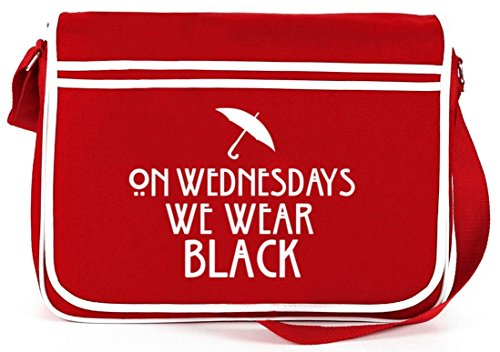 Shirtstreet24, AHS - On Wednesdays, Retro Messenger Bag Kuriertasche Umhängetasche Rot