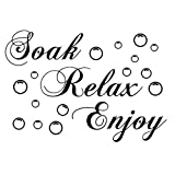 "Handlife Home Kitchen Artwork Wall Stickers, Art Sticker Decal Mural, Multi Styles, Funny Humorous Comments, Removable Words ""Soak Relax Enjoy"" Bathroom Background Wall Sticker Decor"