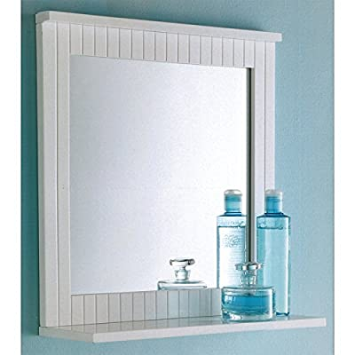 Maine White Bathroom Wood Frame Mirror Wall Mounted with Cosmetics Shelf NEW pajee TM - cheap UK light store.