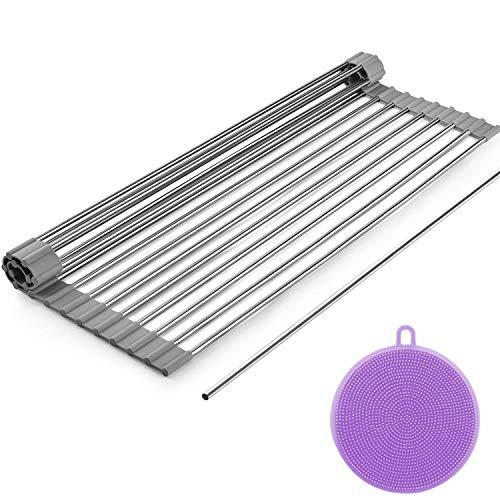 """Dish Drying Rack, ZealBea Focus Enrollable Escurreplatos Acero Inoxidable para Fregadero [Silicio Suave de Grado FDA] [Sin BPA] Sobre el Fregadero o Encimera Escurreplatos (Gris, 20.9"""" x 12.6"""")"""