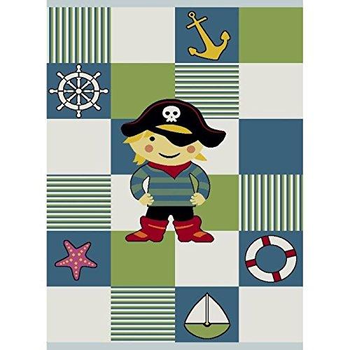 Kinderteppich Pirat Design Kurzflor 3D Konturenschnitt Turkis Rot Weiss Schwarz Orange Grün Pink Blau Grün Gelb Größe 120x170 cm