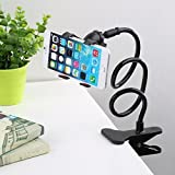 Drumstone Universal Flexible Portable Foldable 360 Degree Mobile Phone Smartphone Holder Stand for Car Office Home Bed Desk Table for Apple iPhone Samsung Moto Redmi OnePlus Lenovo, Black