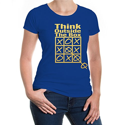 buXsbaum® Girlie T-Shirt Think Outside The Box Royal-Gold